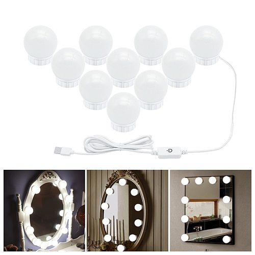2020 LED 5V Makeup Mirror Light Bulb Hollywood Vanity Lights Stepless Dimmable Wall Lamp 2 6 10 14Bulbs Kit for Dressing Table