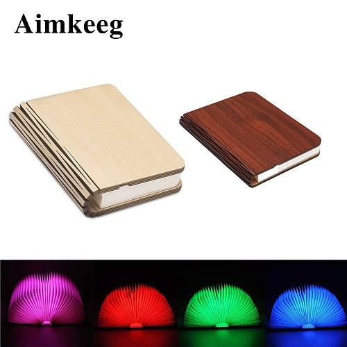 LED Portable Night Light Magnetic Foldable Wooden Book Lamp 5Colors USB Rechargeable Reading Desk Lights For Christmas Kids Gift