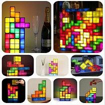 EU US Plug Night Light Tetriy Block DIY Decorate Constructible LED Light Energy Saving Colorful Atmosphere Lamp  Night Lamp