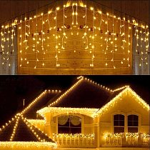 5M Christmas Garland LED Curtain Icicle String Lights Droop 0.4-0.6m AC 220V Garden Street Outdoor Decorative Fairy Light