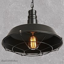 American Loft Industrial Retro Iron Pendant Lights Creative Dining Room Clothing Store Cafe Pot Cover Netting Hanging Lamp Decor