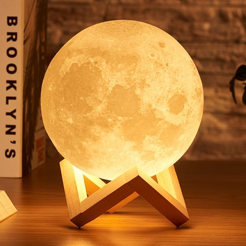 Rambery moon lamp 3D print night light Rechargeable  3 Color Tap Control lamp lights 16 Colors Change Remote LED moon light gift