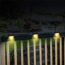 2/4pcs LED Solar Lamp Path Stair Outdoor Waterproof Wall Light Garden Landscape Step Stair Deck Lights Balcony Fence Solar Light