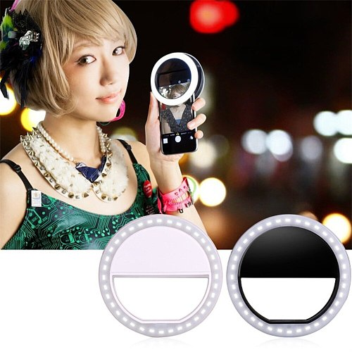 Selfie LED Ring Flash Light Portable Universal Mobile Phone Selfie Lamp Ring Clip Party Travel Photo lighting For Xiaomi Samsung
