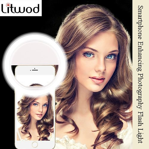 Litwod Z28 Mobile phone Selfie Ring Flash lens beauty Fill Light Lamp Portable Clip for Photo Camera For Cell Phone Smartphone