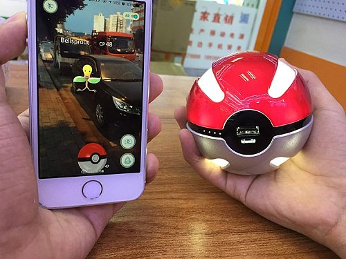 Newest hot Quick phone Charge Pokemon Go Red Ball Power Bank 10000mA Charger With LED Light Mobile game Cosplay Pokemon