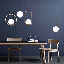 Nordic Glass Ball Pendant Lights Modern LED Hanging Lamp for Living Room Brass/Black/Chrome Pendant Lamp