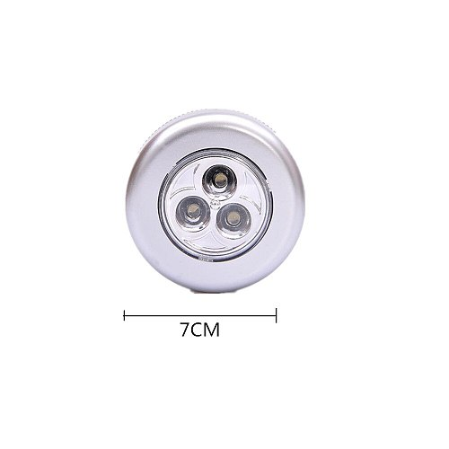3 Led Silver Closet Cabinet Lamp Battery Powered Wireless Stick Tap Touch Push Security Kitchen Bedroom Night Light 1pc