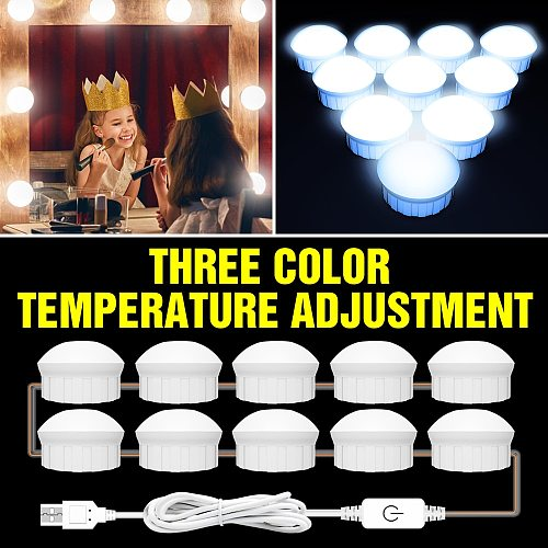 USB 12V LED Makeup Mirror Light Bulb 2 6 10 14 pcs Bulbs Kit Touch Dimmable 3 Colors Hollywood Dressing Table Vanity Mirror Lamp