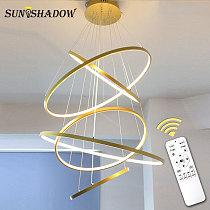 Led Pendant Light Modern Ceiling Pendant Lamp For Living room Dining room Kitchen Hanging Lamp Black White 4rings 40 60 80 100cm