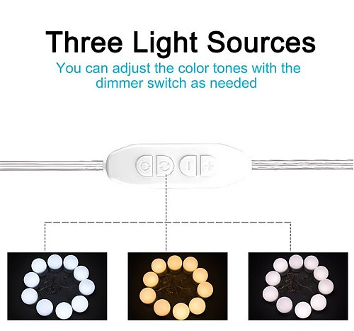 Hollywood Style10 LED Vanity Mirror Lights Kit with Dimmable Light Bulbs Lighting Fixture Strip for Makeup Vanity Mirror Light
