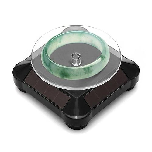 Fashionable Solar Power Battery 360 Degree Turntable Rotating Display Stand Watch Ring Necklaces Jewelry Stand Holder