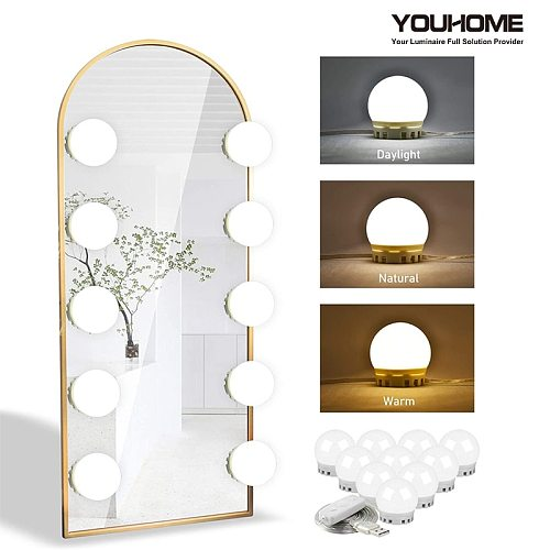 LED Makeup Mirror Light LED Bulbs Dressingtable Hollywood Vanity Lights Stepless Dimmable USB Charging Adjustable Free shipping