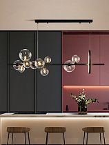 Black LED Chandelier Clear Glass Ball Modern Long Pendant Lamp For Dining Room Bar Restaurant Coffee Shop Office Hanging Light