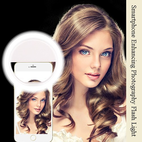 Litwod Mobile Phone Portable Clip Led Selfie Lamp Ring Beauty Fill Flash Lens Light Emergency Dry AAA Battery for Celebrities