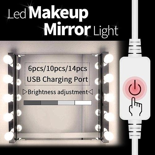 Led Vanity Light Makeup Mirror Light Bulb 12V LED USB Cable Powered Dressing Table Make Up mirror Lamp Decor Bathroom Wall lamp