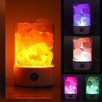 1pc USB Charging Crystal Salt Lamp Living Room Light Portable Night Light Special Occasion Black/White Fine Bedroom Desk Lights