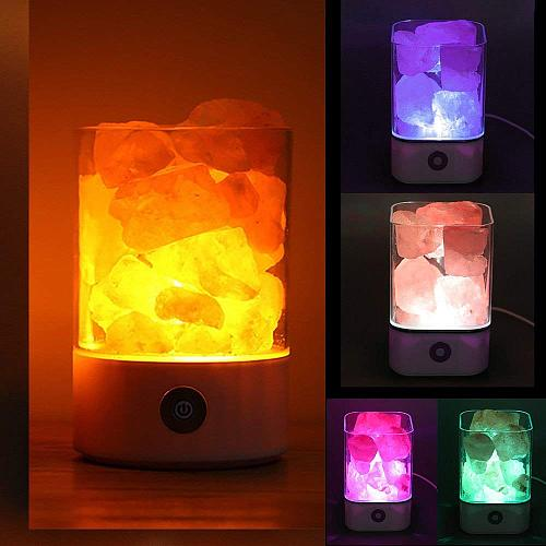 1pc USB Charging Crystal Salt Lamp Living Room Light Portable Night Light Special Occasion Black/White Fine Bedroom Desk Lights