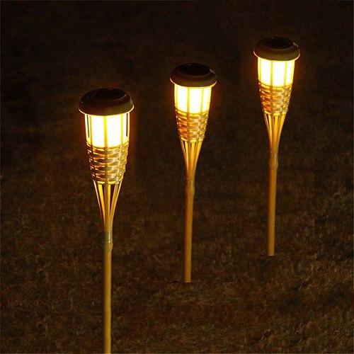 Thrisdar Solar Bamboo Torch Light Landscape Bamboo Tiki Torches Light Outdoor Handcraft Courtyard Fence Garden Spike Lawn Lamp