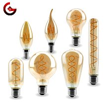 E14 E27 Retro LED Spiral Filament Light Bulb 4W Warm Yellow 220V C35 A60 T45 ST64 T185 T225 G80 G95 G125 Vintage Edison Lamp