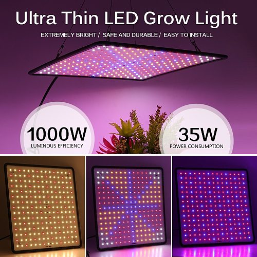 3pcs 1000W LED Grow Light Panel Full Spectrum Phyto Lamp AC85-240V EU/US Plug For Indoor Grow Tent Plants Growth Light