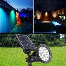 7 RGB Solar Lawn Lamp Spotlight Waterproof Light Control Inserting Floor Garden Light Outdoor Adjustable Garden Landscape Lamp