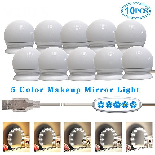 3/5 Modes Colors LED Vanity Mirror lamp Bulb for Makeup  5V Touch Dimming Vanity Dressing Lamp USB Hollywood Mirror Wall Light