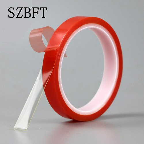 SZBFT 2rolls 1mm~5mm*5M Strong pet Adhesive PET Red Film Clear Double Sided Tape No Trace for Phone LCD Screen free shipping