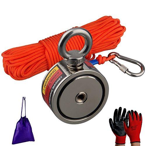 120Kg Label Design Super Salvage Magnet Neodymium N52 Magnet Strong Searching Magnet Fishing Magnets Magnetic 15m Rope