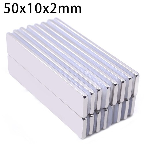 1/5/10pcs 50mm x 10mm x 2mm  Powerful Block Square Magnet Craft Model Rare Earth 50*10*2 Neodymium Permanent Magnet 50x10x2