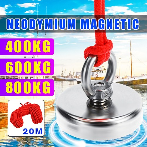 800/600/400KG Strong Powerful Neodymium Magnet Hook Salvage Magnet River Fishing Equipments Holder Pulling Mounting Pot+10M Rope