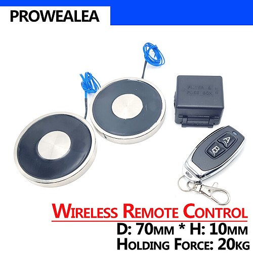 Wireless Remote Control Electromagnet 70/10 DC 12V Cylinder Electric Magnets 20KG/200N Strong Electromagnetic Solenoid Sucker