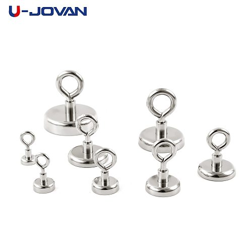 U-JOVAN 1pc Strong Powerful Neodymium Magnet Round Salvage Magnet Sea Fishing Holder Pulling Mounting Pot with Ring