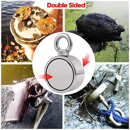 300KG D60mm Double-sided Powerful Round Neodymium Magnet Hook Salvage Magnet Sea Fishing Equipments Holder with Ring 10M Rope
