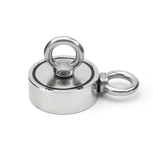 Strong Powerful Neodymium Magnet D48-D75mm Round Hook Salvage Magnet Sea Fishing Holder Pulling Mounting Pot with Ring