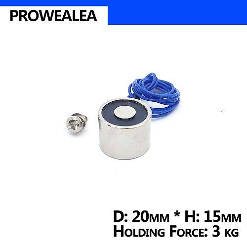 Electromagnet 20/15 DC 6V 12V 24V Cylinder Electric Magnets 3KG/30N Strong Electromagnetic Solenoid Sucker Non-Standard Custom