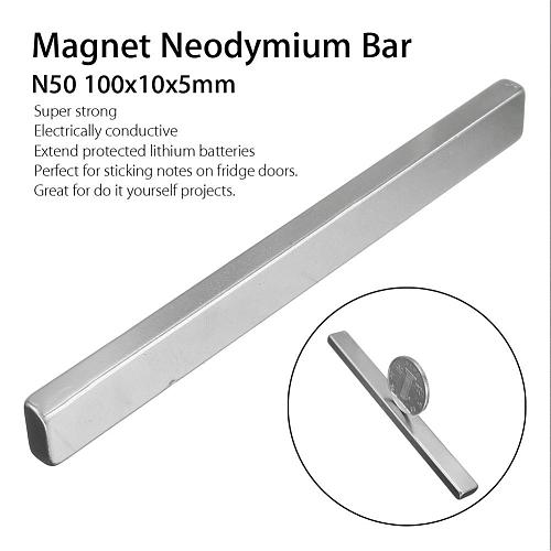 1 Pcs N50 Rectangular Magnet Bar Neodymium Long Magnet Strip Home DIY Tool Magnetic Material Home Improvement 100x10x5MM