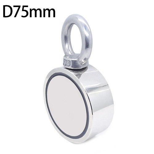 D75mm Neodymium magnet super powerful hole Double-sided salvage fishing magnet 300kg Circular Ring hook permanent holder Steel