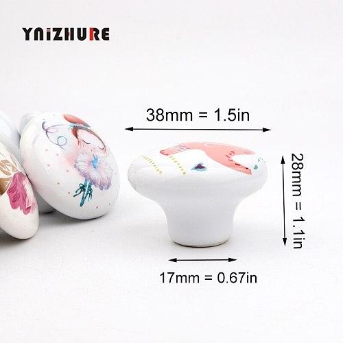 YINZHURE Brand Rural Acme Nordic Style Ceramic Single Round K Wardrobe Kitchen Garden Door Handle Modern Cabinet Handle