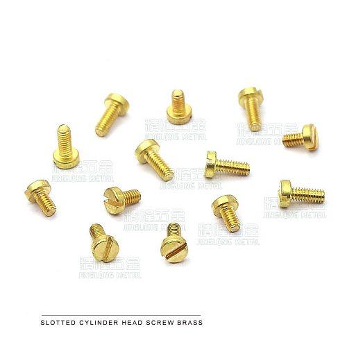 50pcs/lot DIN84 Brass cheese head slotted screw M1.2 M1.4 M1.6 M2 M2.5 M3
