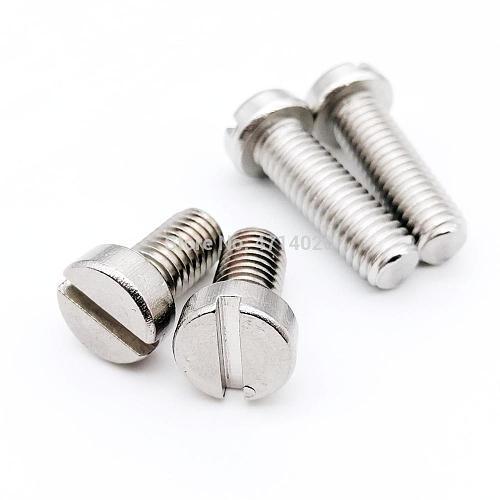 10/50pcs M1.6 M2 M2.5 M3 M4 M5 M6 304 A2-70 stainless steel GB65 Slotted Cap Head Slot Column Round Cheese Head Screw Bolt