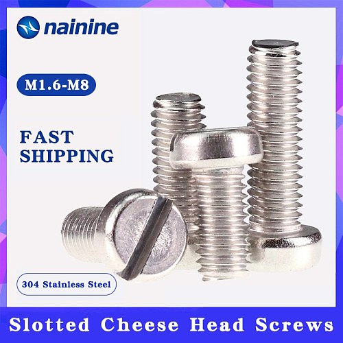 GB65 M1.6-M8 DIN84 ISO1207 304 Stainless Steel Slotted Pan Screws Slotted Grooving Screw A139