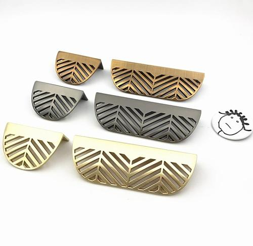 LCH Nordic Style Leaf Shaped Zinc Alloy Instagram Style Cabinet Knob Cupboard Handle Door Pull Handles Coffee Gold Leaf