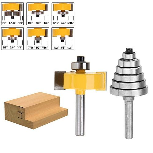 1/4 Inch Shank Rabbeting Router Bit with 6 Bearings Set for Multiple Depths 1/8 inch, 1/4 inch, 5/16 inch, 3/8 inch, 7/16 inch