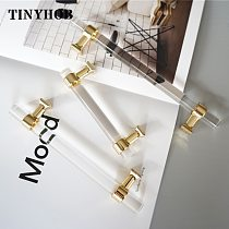 Various Sizes Modern Style Acrylic Drawer Knobs T bar Handle Bathroom Pulls Kitchen Cabinet Door Handle Pull