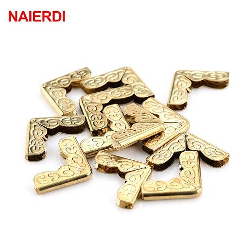 NAIERDI 100pcs 15x15x3mm Antique Brass Metal Book Scrapbooking Notebook Albums Menus Folders Corner Protectors Bronze Tone