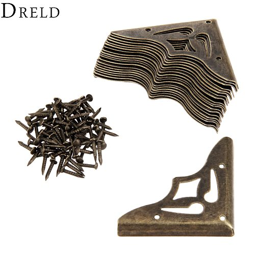 DRELD 20Pcs Furniture Metal Craft  Antique Bronze Jewelry Box Corner Foot Wooden Case Corner Protector Decorative Corner 35mm