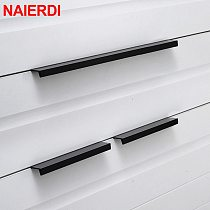 NAIERDI Gold Black Hidden Cabinet Pulls Aluminum Alloy Kitchen Cupboard Handles Drawer Knobs Furniture Handle Bedroom Hardware