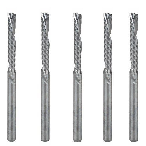 5pc 3.175X22mm Down Cut Cutters,Left-handed 1 Flute End Mill Carbide Cutting Tools Bits on Clean Machining Acrylic/Woodworking