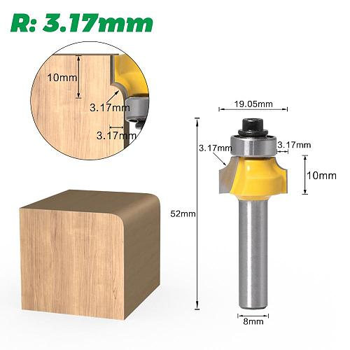 1pcs 8mm shank Corner Round Over Router Bit with Bearing Milling Cutter for Wood Woodworking Tool Tungsten Carbide